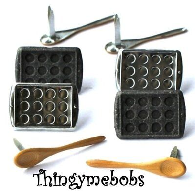 12 Baking/Cooking Brads - Card Ma/King/Scrap Booking/Crafts - Spoons/Trays