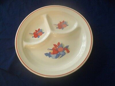 Calico Fruits Universal Potteries Vintage  Grill Plate Divided
