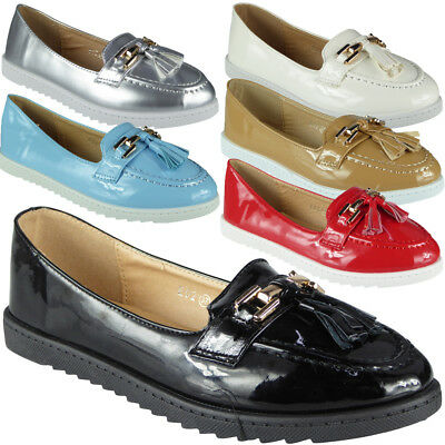 ebb6d62a2411 Womens Comfy Flat Loafers Ladies New Tassel Casual Slip On Work Pumps Shoes  Size