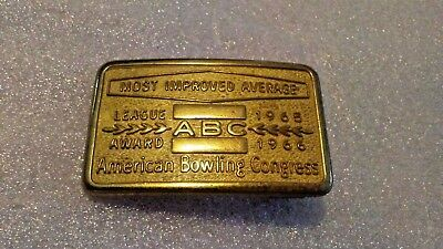 Vintage ABC American Bowling Congress Most Improved Average 1964 65 Belt Buckle