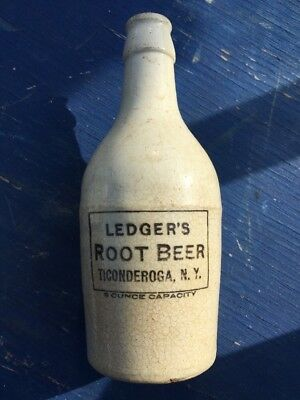 Antique Ledgers Root Beer Stoneware Bottle Ticonderoga Ny~ Very Nice Cond.~Rare