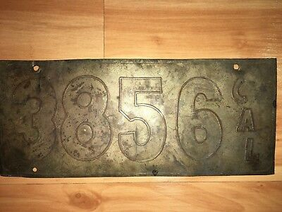1905 Vintage California License Plate Nickel Plated Brass