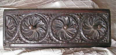 Antique Carved Gothic Revival Architectural Detail, Pegged Coat Rack, Ca 1840