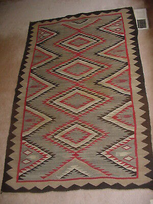 Large Old Navajo Indian Rug Blanket With Pictoral Weaving Comb Designs