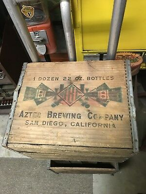 Vintage AZTEZ ABC brewing Dovetail Wood Crate Brewing San Diego Ca