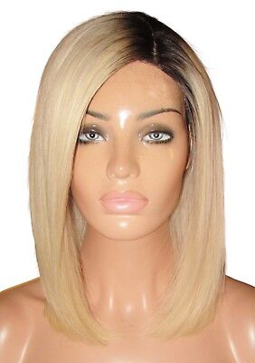 "Remy Human Hair Wig Glueless Front Lace 12"" Bob Silk Top Roots 1b 60 613 Blonde"