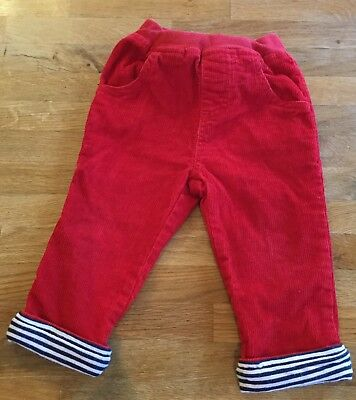 JoJo Maman Bebe Boys Cord Trousers Red 6-12 Months