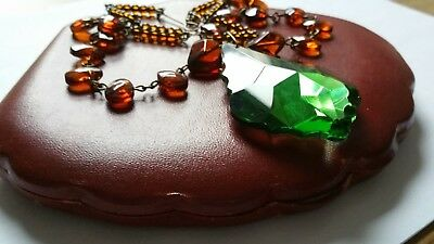 Czech Green And Brown Wired Glass Pendant Necklace Vintage Deco Style