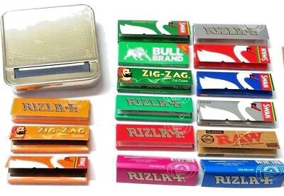 AUTOMATIC ROLLING MACHINE CIGARETTE METAL TIN and RIZLA SWAN ZIG ZAG RAW PAPERS