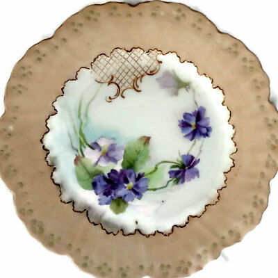 Limoges Plate HandPainted  Violet Flowers W G Co France William Guerin