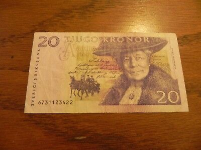 Sweden 20 Kronor Banknote 1990s Circulated JCcug 18053