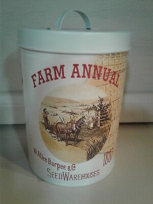 Metal Farm Annual W. Allee Burpee & Co. Seed Warehouse can with lid