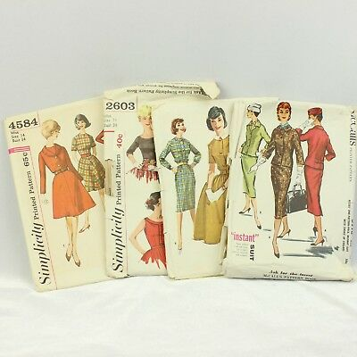 21885db2ceb Vtg Simplicity McCalls Sewing Pattern (4) 1950 Size 14 Bust 34 Dress Suit  Jacket