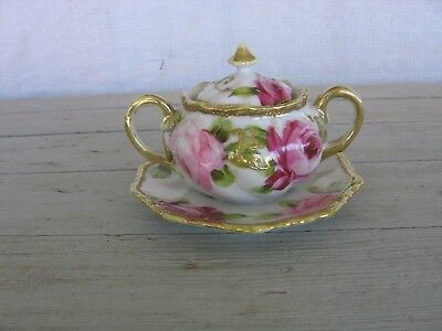 Vintage NIPPON Petite Sugar Bowl W/gold trim pink roses, lid Attached Underplate