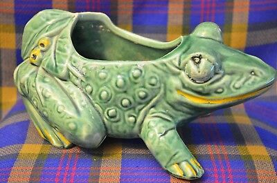 "Vintage Large 8 1/2"" 1940s McCoy Green Frog Planter w/Leaves&Berries-Coldpaint"