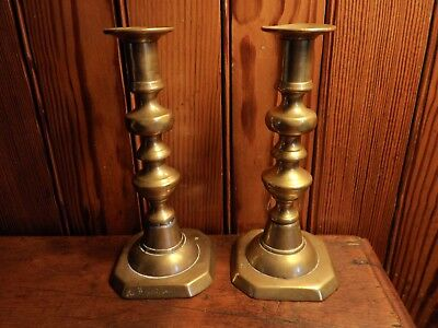 """Pair of Antique 19th Century 7"""" Tall Brass Push Up Candlesticks Candle Holders"""