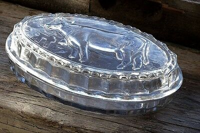 New Vintage-Inspired Heavy Pressed Clear Glass Farmhouse Cow Butter Dish w/Lid