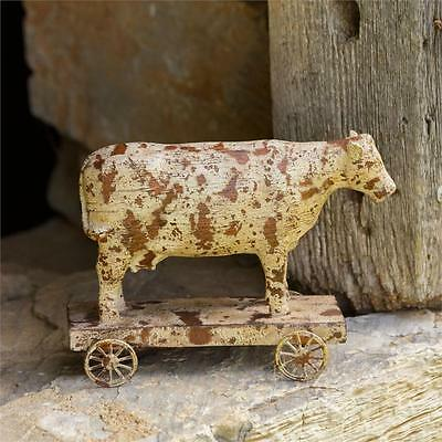 """VIntage-Style Rustic Small """"Carved"""" Cow on Wagon Wheeled Base Pull Toy Primitive"""