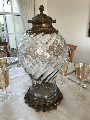 Pair of Large Castilian Imports Urns Etched Glass and Solid Brass