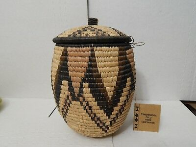 Traditional African Zulu Herb Container - Handwoven Basket