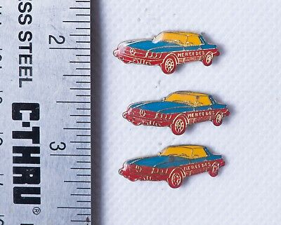 Mercedes Cloisonne Enamel Collectible Vintage Hat Tie Tack Pin Lot Of 3 Pins