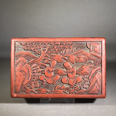 Beautiful 19th Century CHINESE Hand Carved Red Cinnabar Lacquer Box