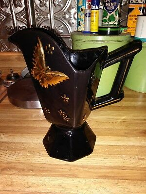 Hull Butterfly Pitcher Black & Gold #48 Made In 1956