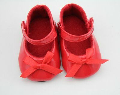 Reborn Baby Dolls Red Leather Shoes Fits 18'' American Girl Doll Accessories