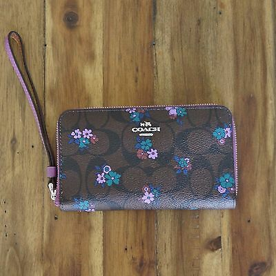 NWT Coach Phone Wallet in Signature C Ranch Floral Coated Canvas ~Brown ~ F59064