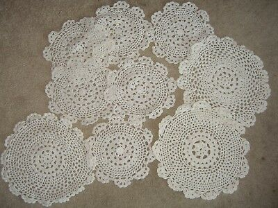 Lot of 8 white matching  Vintage Hand Crocheted Doilies ~