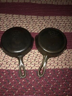 Lot Of 2 RARE Vintage #3 WAGNER WARE Cast Iron Skillet (#3-1053W And 3B)