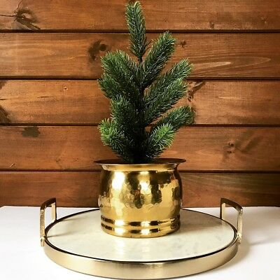 Vintage Hammered Solid Brass Small Planter Flower Pot Bucket Home Decor India