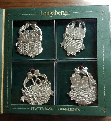 Longaberger Pewter Christmas Basket Ornament Collection in Box
