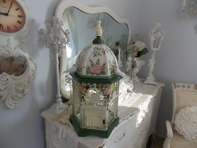 Shabby Hand Painted Porcelain  & Wood Pink Pastel Rose Decorative Bird Cage