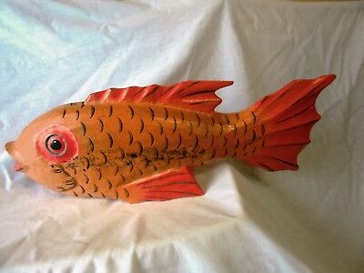 "carved wood gold fish-  bright orange, 18"" long,   7"" tall- 17"" around (COOL)"