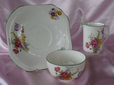 Vintage 1930's Duchess Jug Bowl & Cake Plate Pink Floral Afternoon High Tea