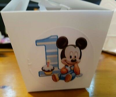 Set Of 12  Personalised Mickey Mouse 1St Birthday White Loot/gift/cake Boxes