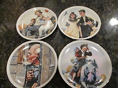 NORMAN ROCKWELL Limited Edition Collector Plates (4) IMM Japan Fine Porcelain