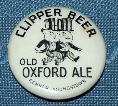 Vintage Clipper Beer Old Oxford Ale Renner Youngstown pinback advertising button