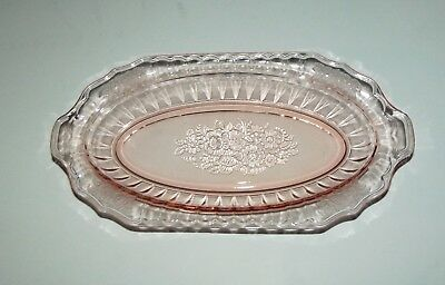 "Vintage 11"" oval Mayfair Hocking Open rose pink depression glass serving bowl"