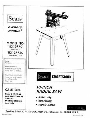 Sears Craftsman Radial Arm Saw Manual 103.29310 And Many Other Models Available