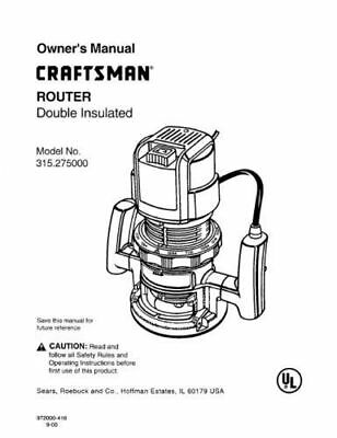 Sears Craftsman Router Owners Manual 351.25031 And Many Other Models Available
