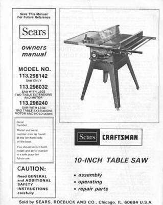 Sears Craftsman Table Saw Owners Manual 113.298142 And Many Other Models Avail.