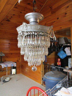 Two Vintage Aluminum Brass Chandelier With Four Tiers of Crystal Prisms