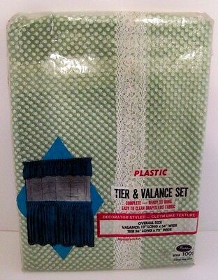 Vintage NOS Avon Green and White Plastic Tier & Valence Curtain Set, 2 Piece