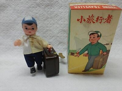 "Vintage Tin Toy Wind Up ""Young Traveller"" with Suitcase, Clockwork China MS 823"
