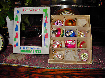 ANTIQUE  Glass Christmas Ornaments INDENTS  POLAND, USA,  HANDPAINTED