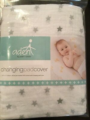 Aden by Aden + Anais  Baby Changing Pad Cover Dove stars 100% cotton muslin Soft