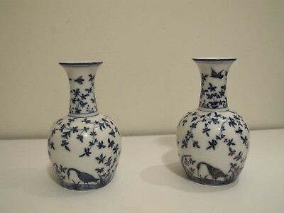 Pair of Blue White Gold Porcelain Bird Stork Vases 19TH Ct Chinese Delft Painted