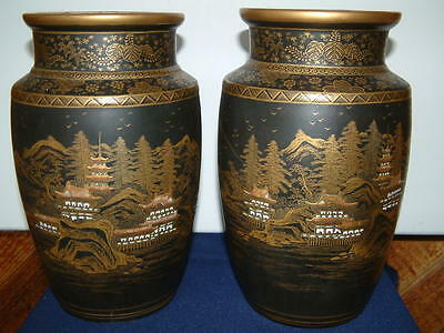 Antique Large  Pair Of Japanese Satsuma Vases, Artist Marks Very Good Condition.